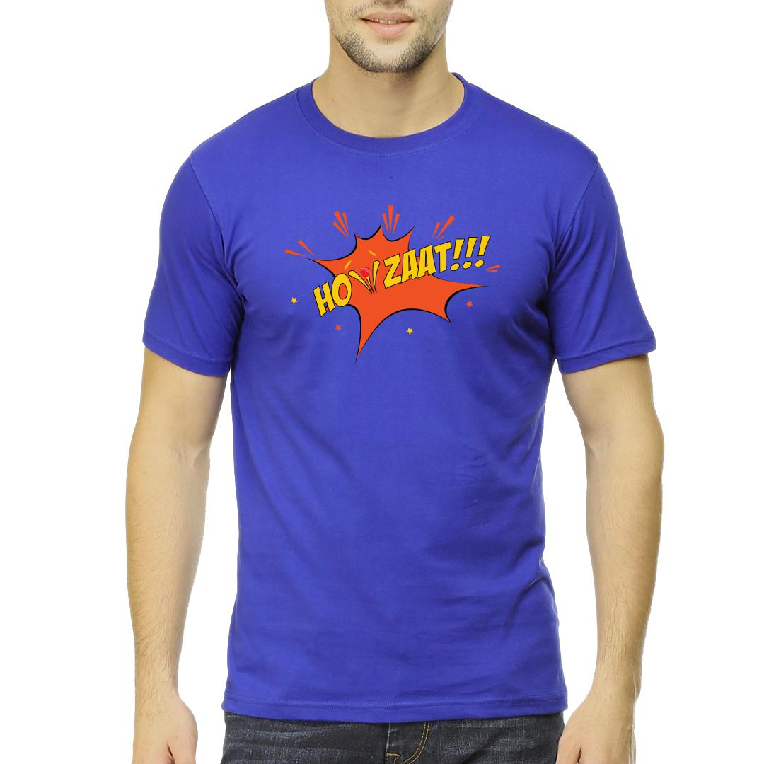 Howzaat Men Round Neck T Shirt Royal Blue Front