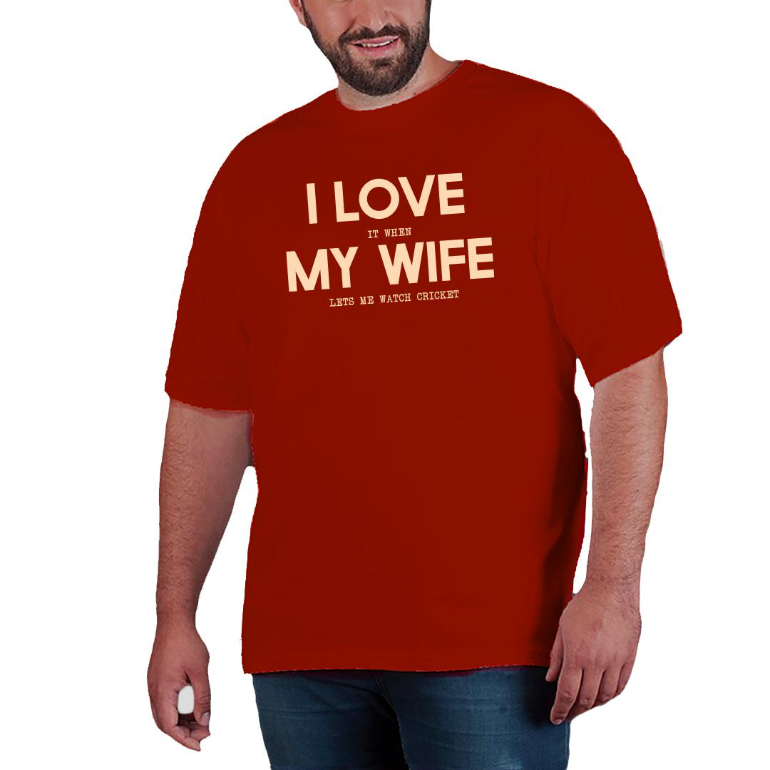 I Love It When My Wife Lets Me Watch Cricket Men Plus Size T Shirt Red Front