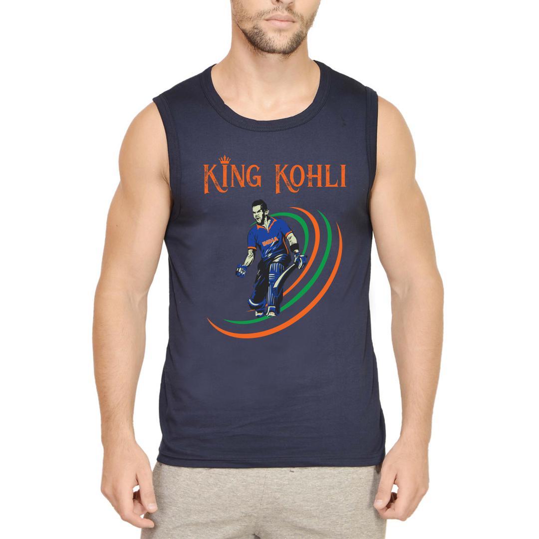 King Kohli Men Sleeveless T Shirt Navy Front