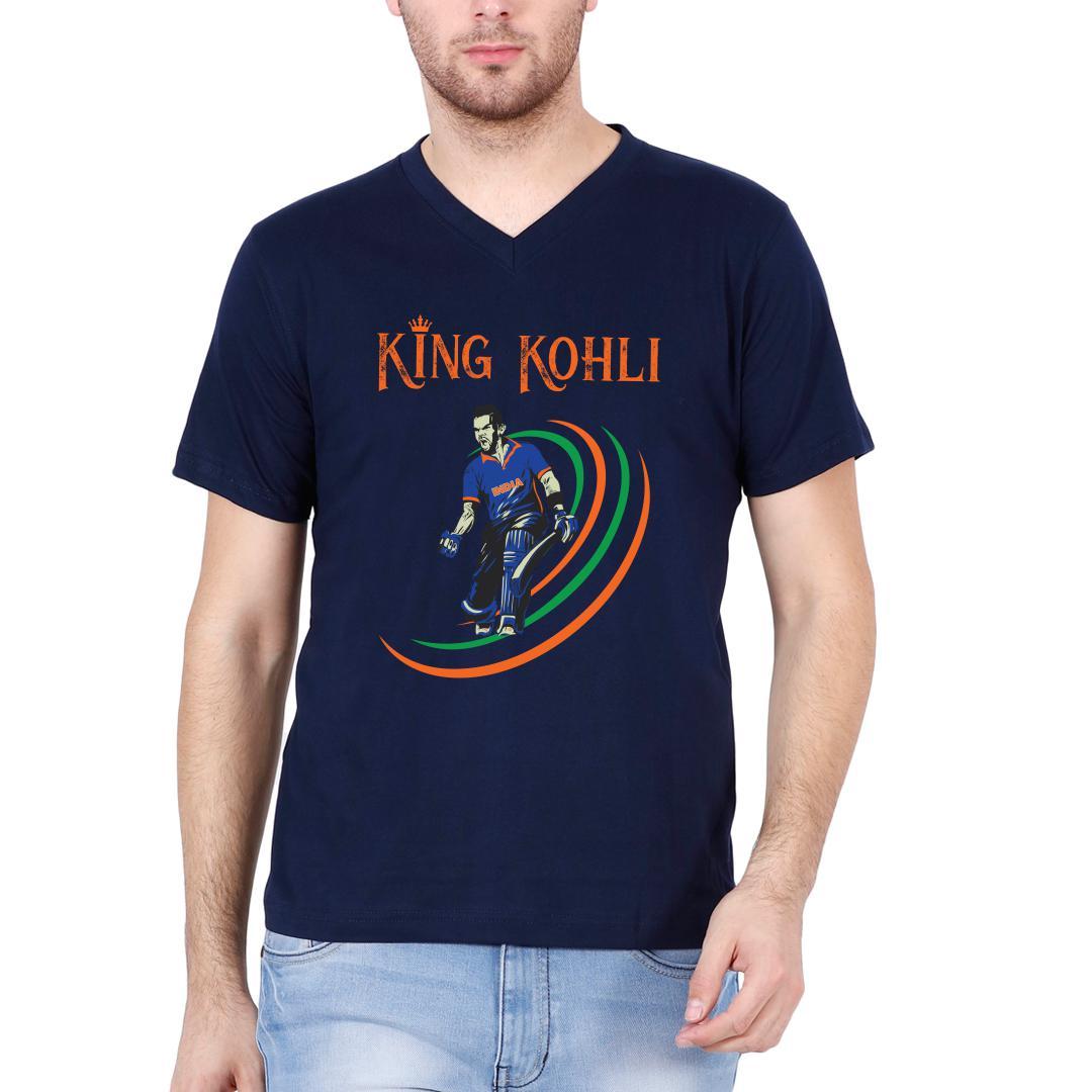 King Kohli Men V Neck T Shirt Navy Front