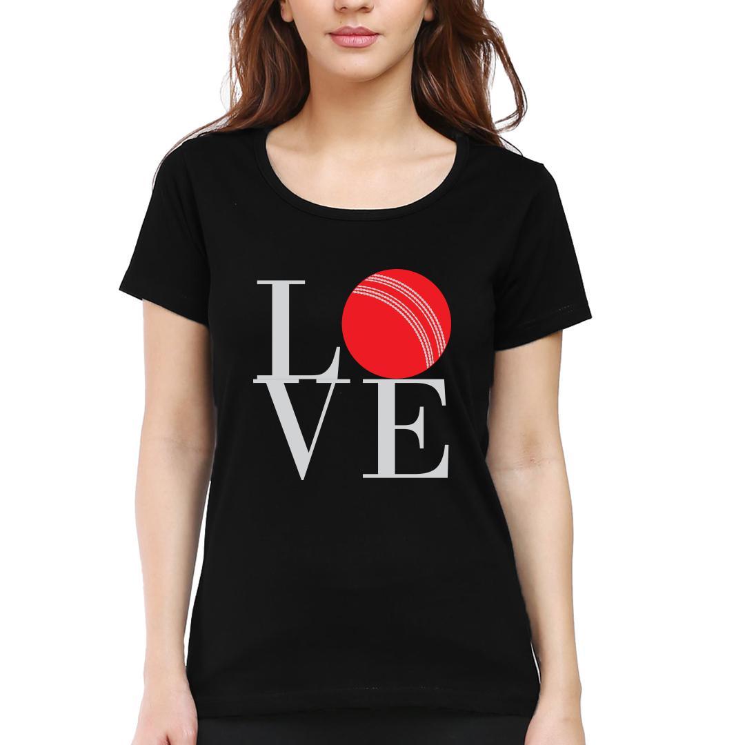 Love Cricket Women Round Neck T Shirt Black Front
