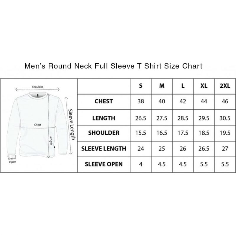 mens round neck full sleeve tee size chart