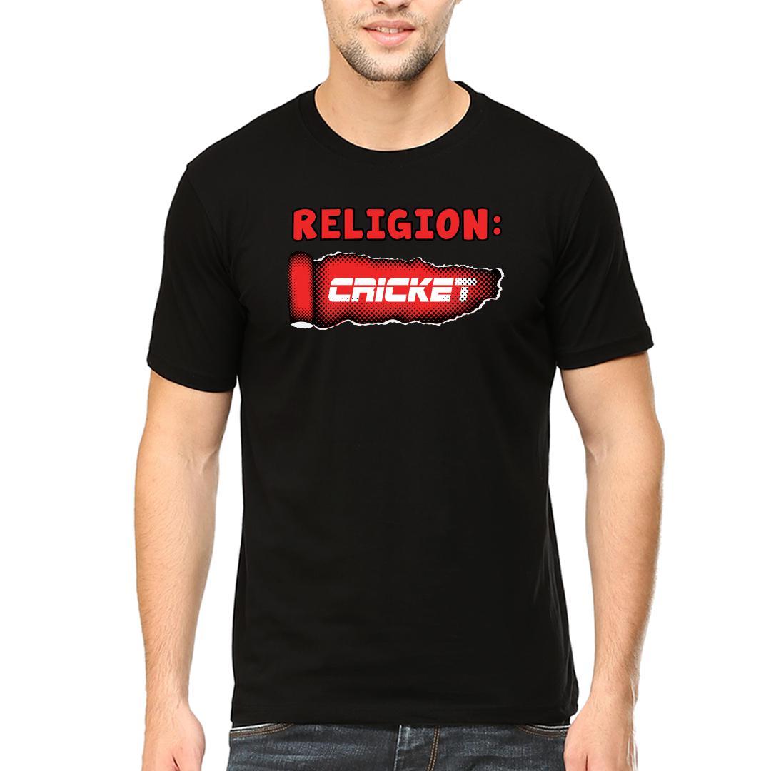 Religion Cricket Men Round Neck T Shirt Black Front