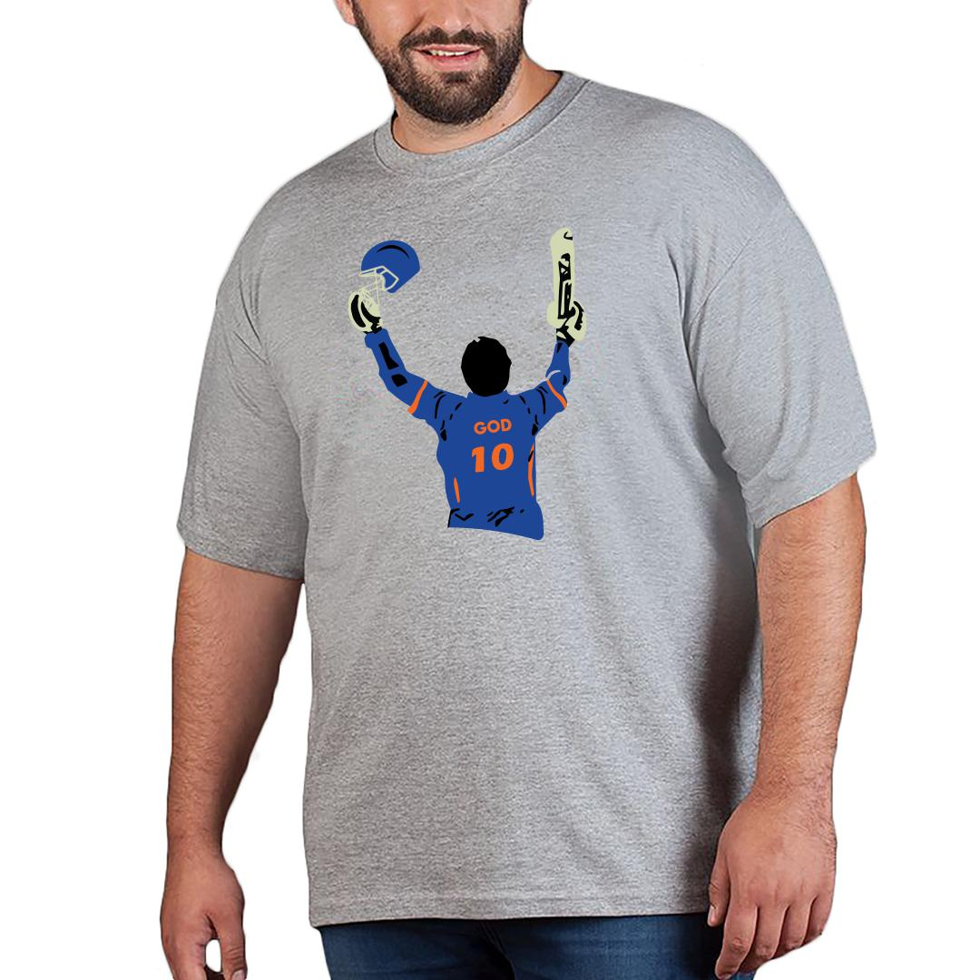 Sachin God Men Plus Size T Shirt Grey Front