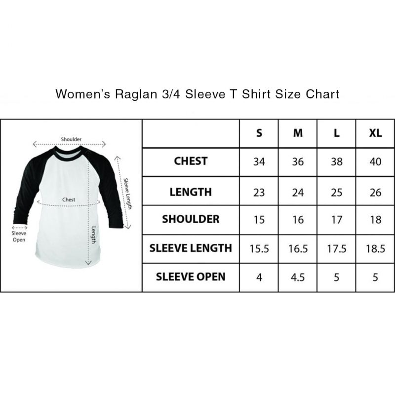 womens raglan full sleeve t shirt size chart
