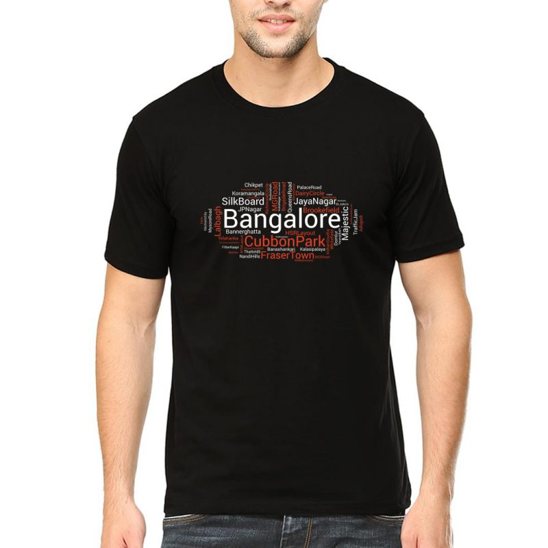bangalore word cloud men round neck t shirt black front
