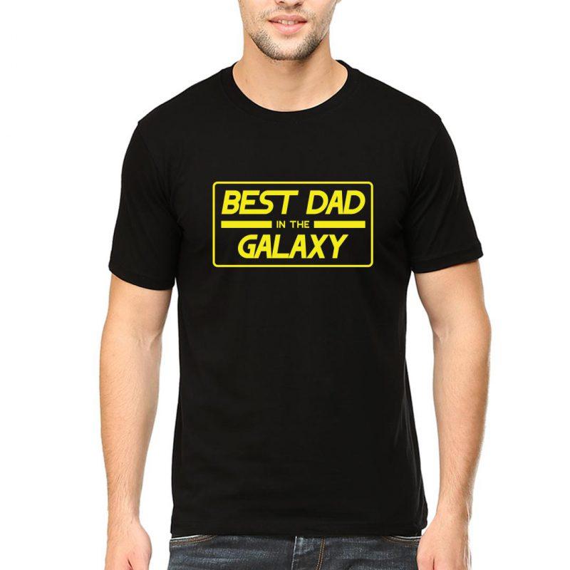 best dad in the galaxy men round neck t shirt black front