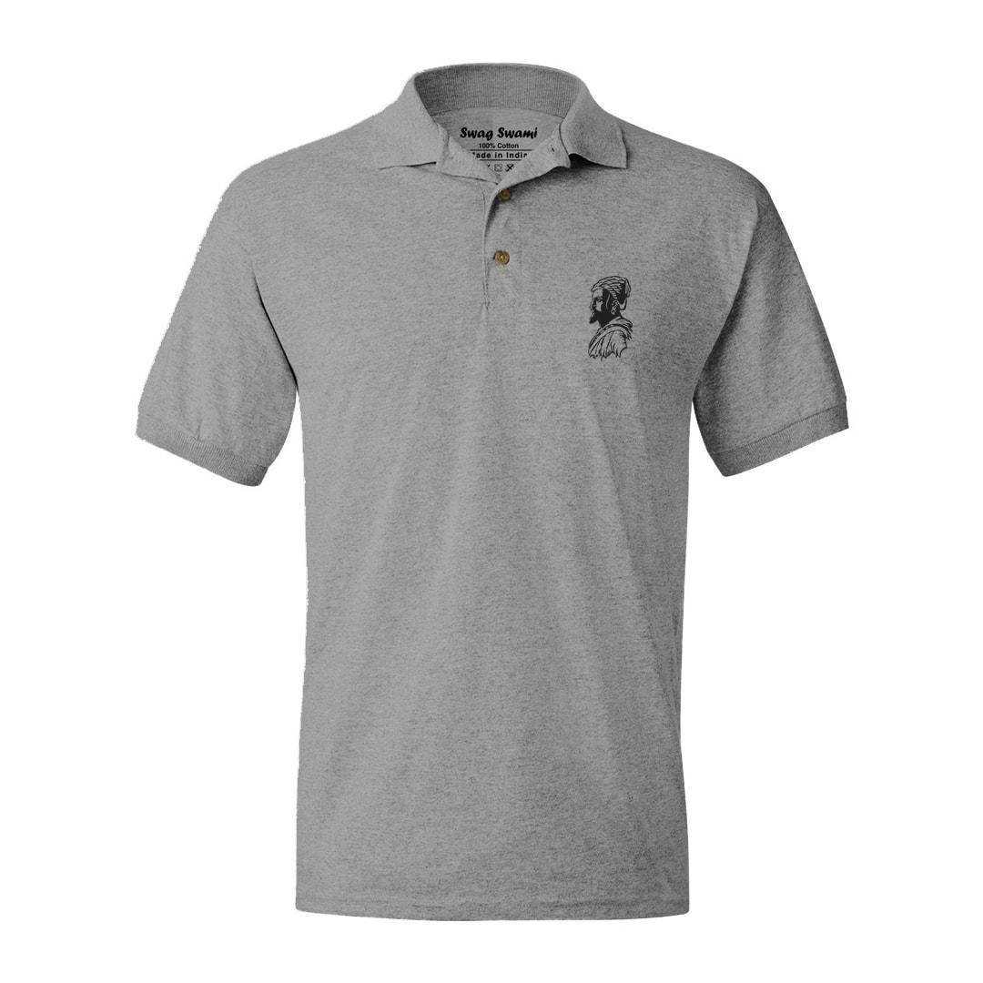 Chatrapathi Shivaji Grey Polo T Shirt