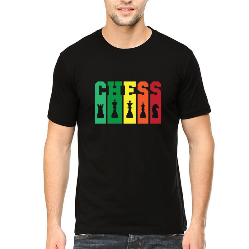 chess tall and colourful men round neck t shirt black front