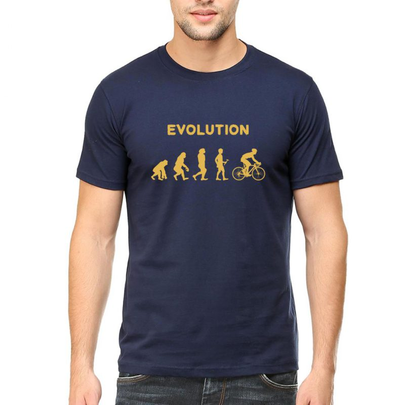 evolution of cyclist men round neck t shirt navy front
