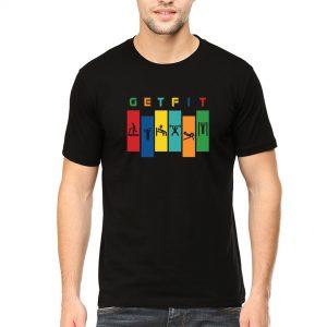 get fit men round neck t shirt black front