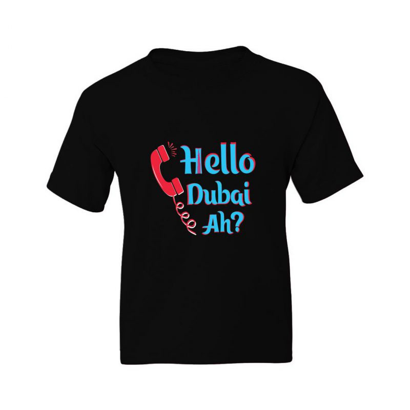 hello dubai ah kids t shirt black front