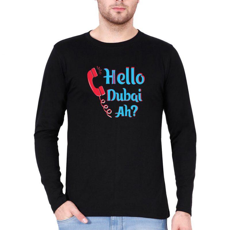 hello dubai ah men full sleeve t shirt black front