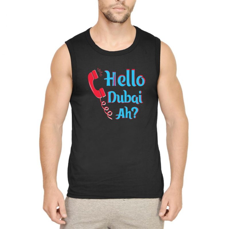 hello dubai ah men sleeveless t shirt black front