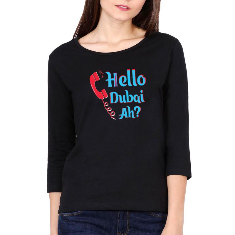 hello dubai ah women full sleeve t shirt black front