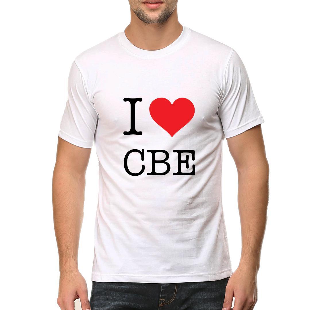 I Love Cbe Men Round Neck T Shirt White Front