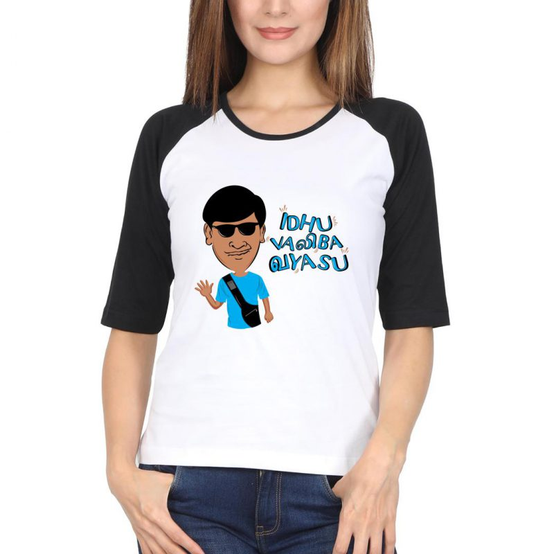 idhu valiba vayasu women raglan t shirt black white front