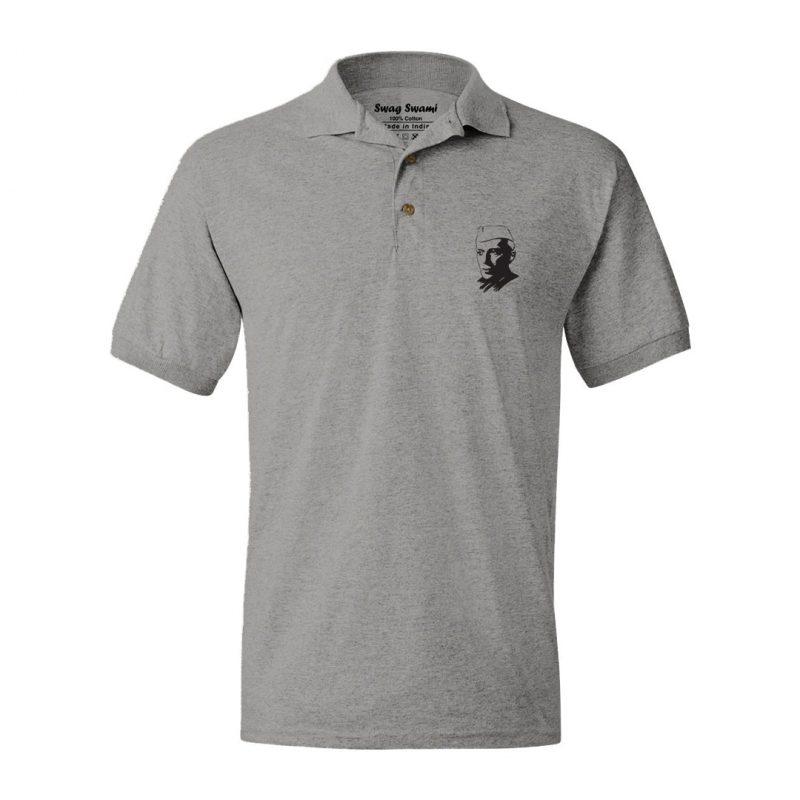 nehru grey polo t shirt