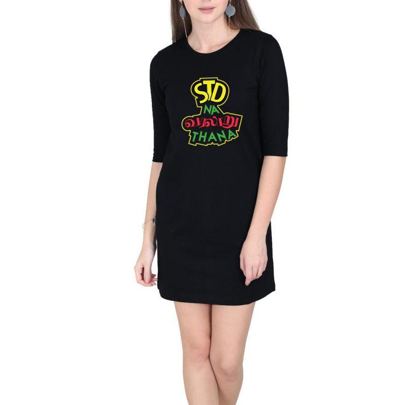 std na varalaru thaana women t shirt dress black front