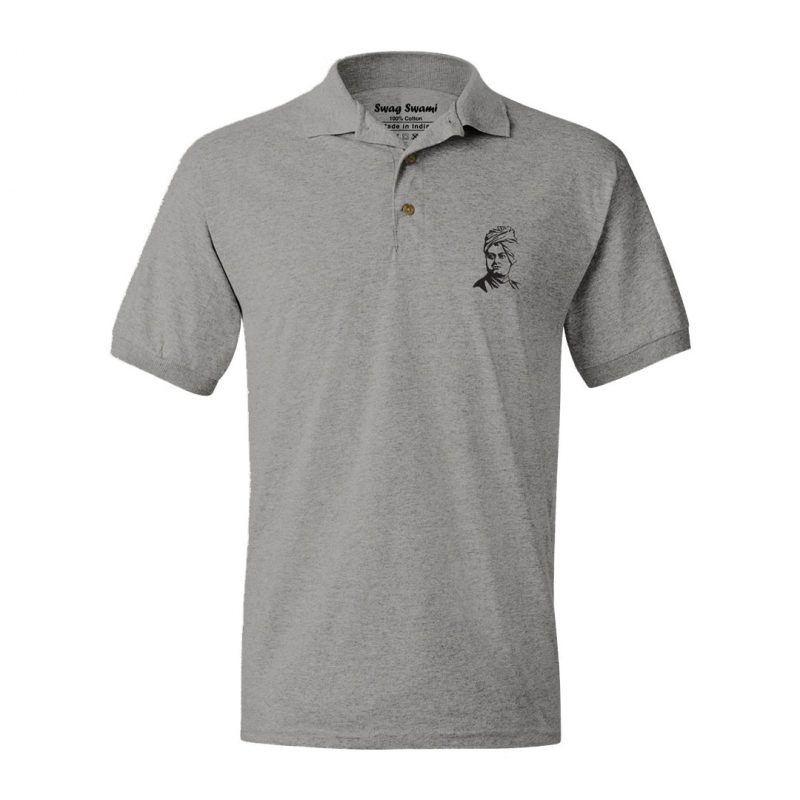 swami vivekananda grey polo t shirt