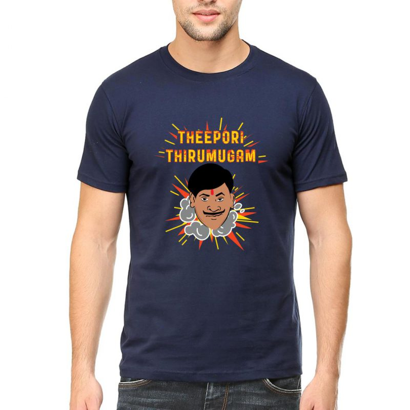 theepori thirumugam men round neck t shirt navy front