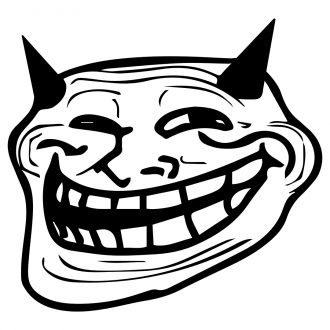 troll face with horns