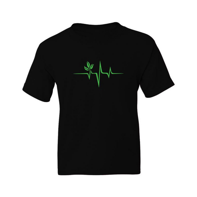 vegan heartbeat kids t shirt black front
