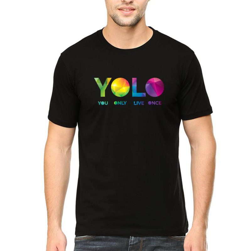 yolo you only live once men round neck t shirt black front