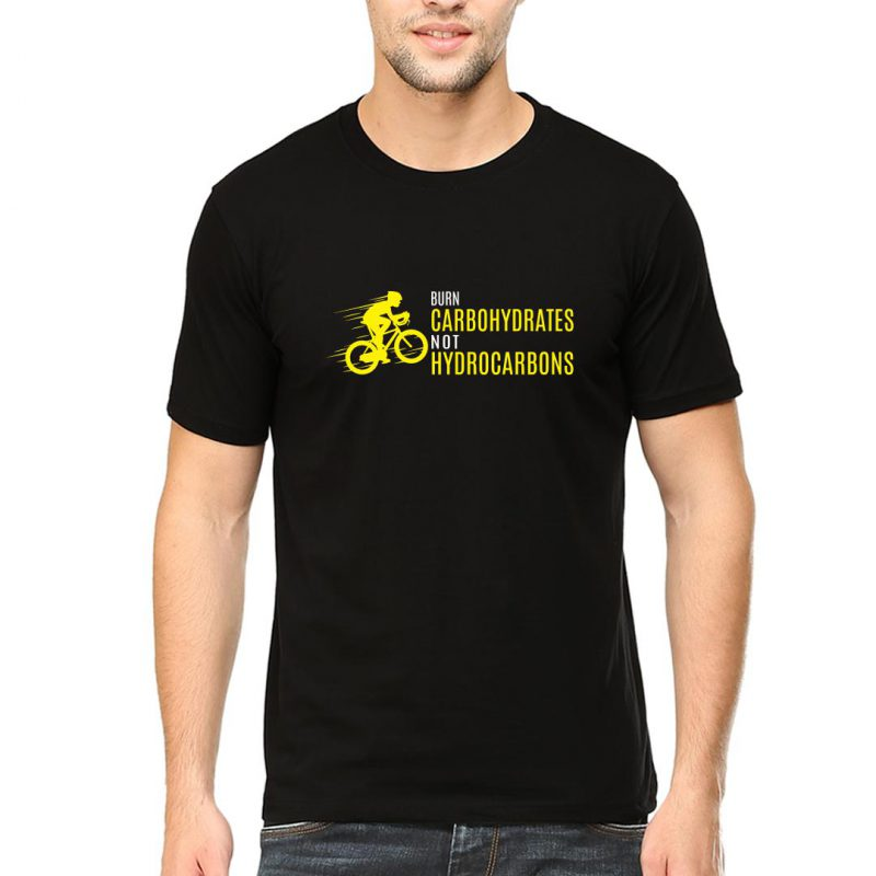 burn carbohydrates not hydrocarbons men round neck t shirt black front