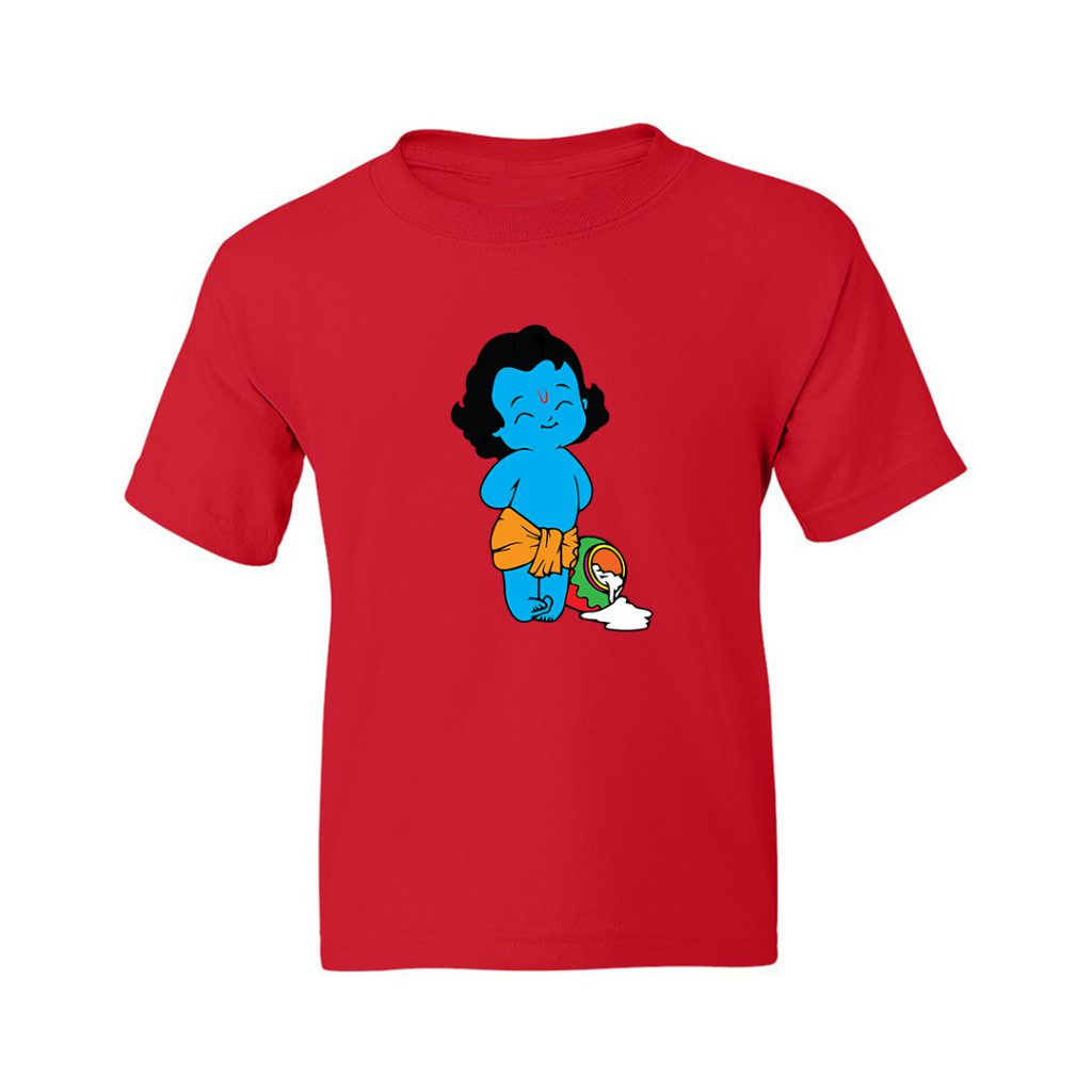 young cute krishna stealing butter kids t shirt red front