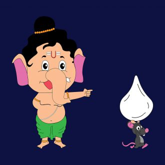 cute and funny ganesh with modak