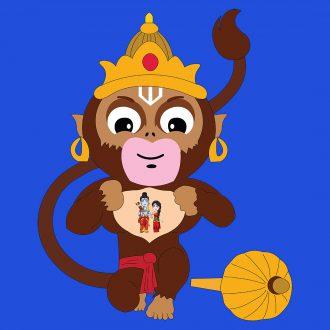 cute hanuman with lord ram and sita