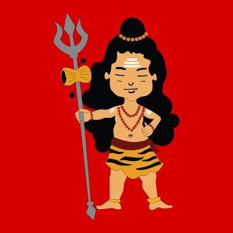 cute lord shiva holding trishul