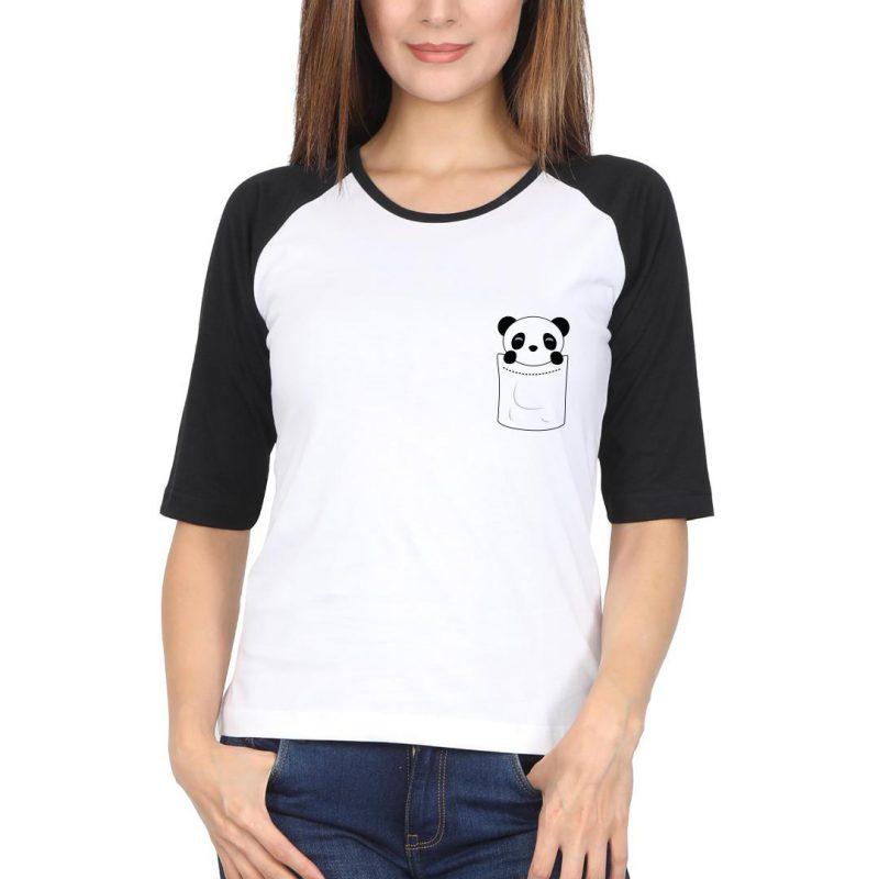 cute pocket panda women raglan t shirt black white front