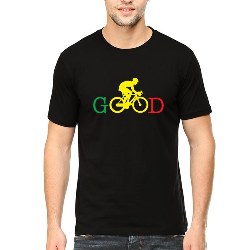 cycling good men round neck t shirt black front