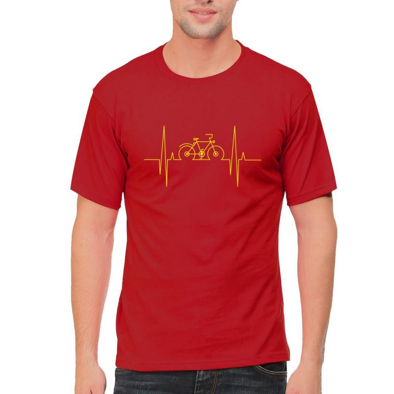cycling heartbeat men round neck t shirt red front
