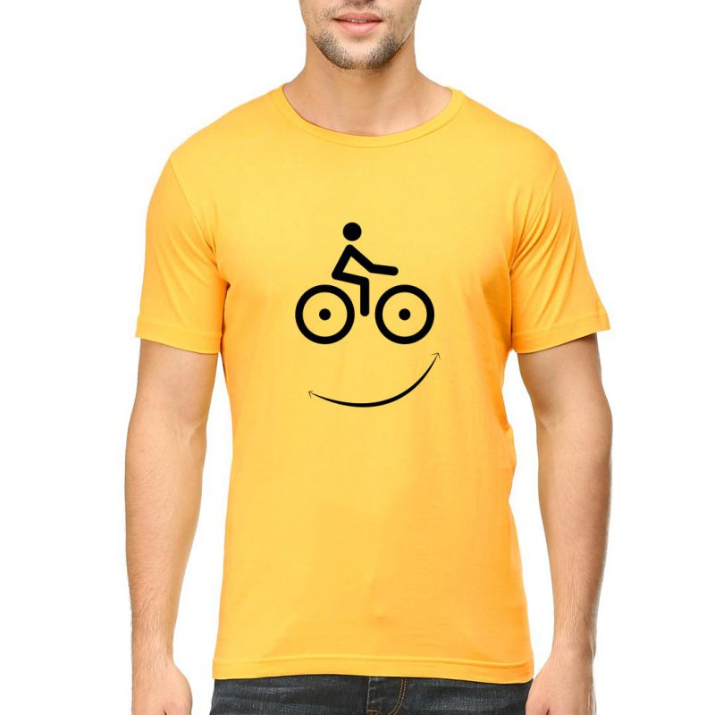 cycling smiley men round neck t shirt yellow front