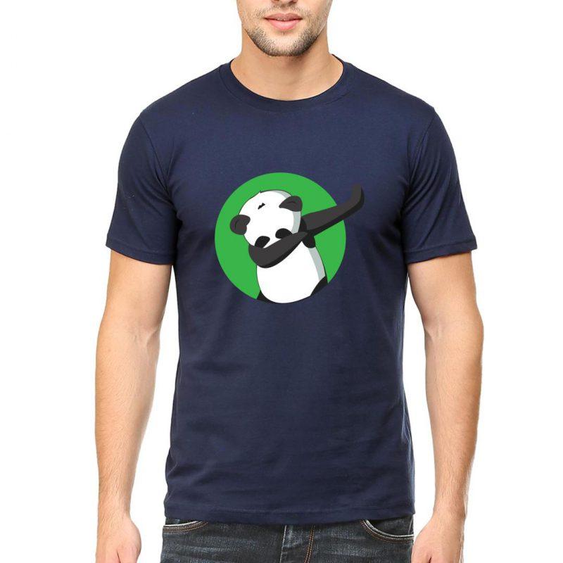dabbing panda men round neck t shirt navy front