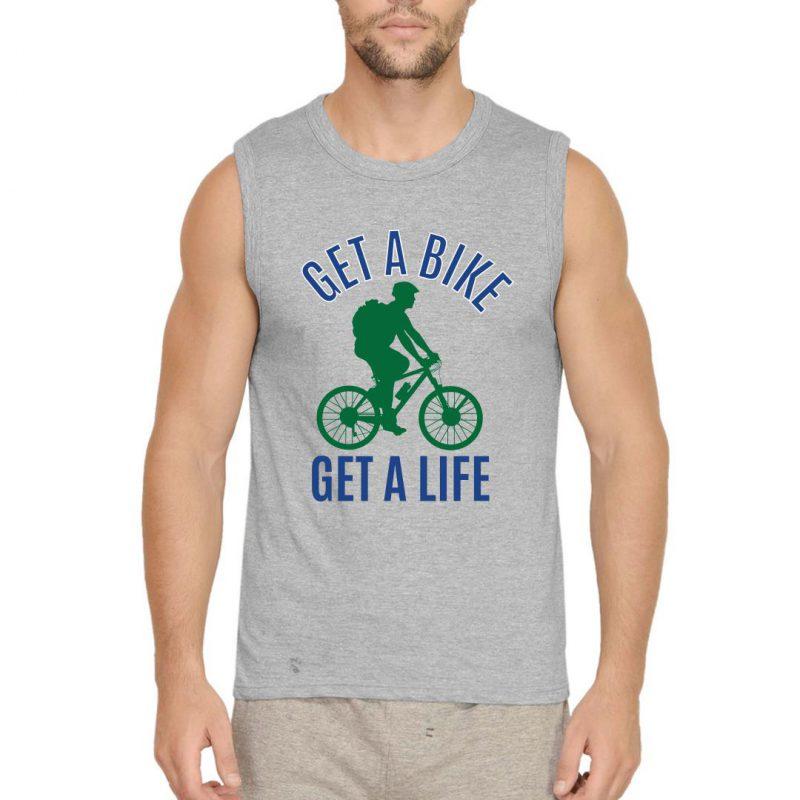 get bike get life men sleeveless t shirt grey front