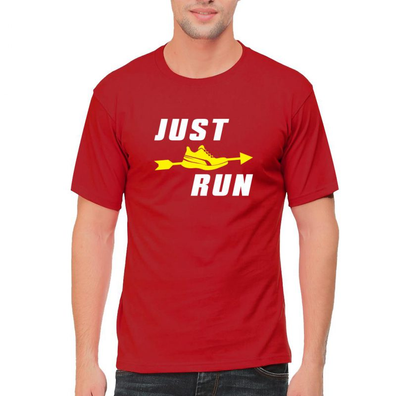 just run men round neck t shirt red front