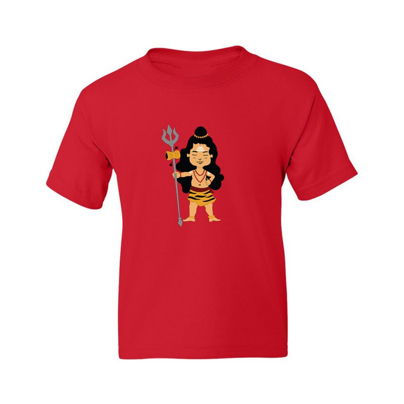 cute lord shiva holding trishul kids t shirt red front