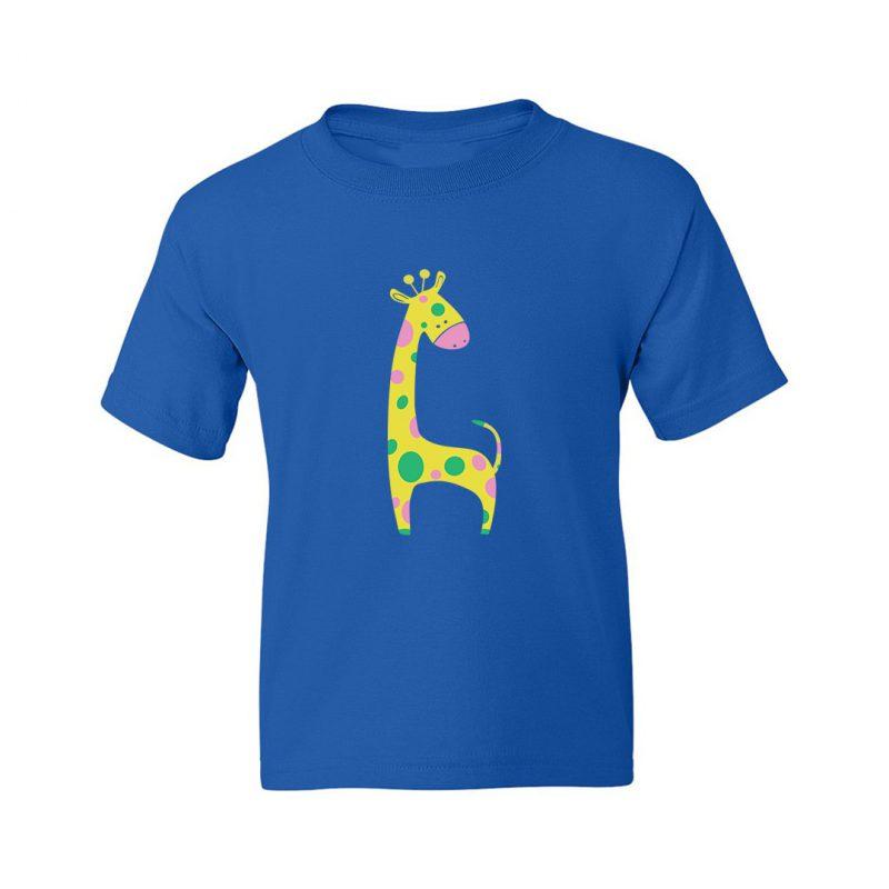 cute giraffe kids t shirt royal blue front