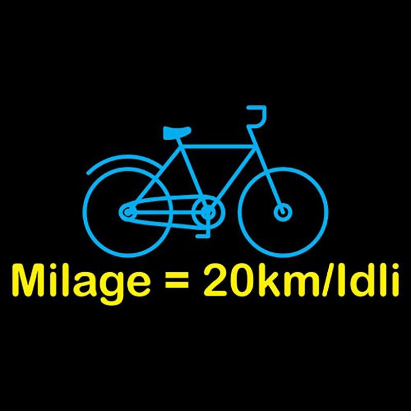 mileage equals 20kms per idli