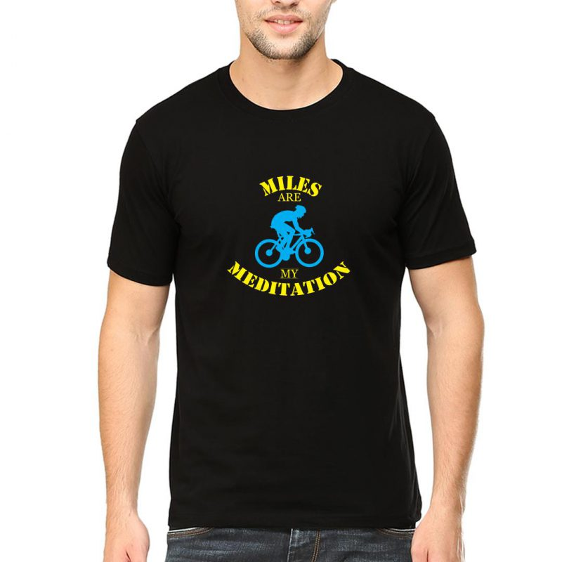 miles are my meditation men round neck t shirt black front