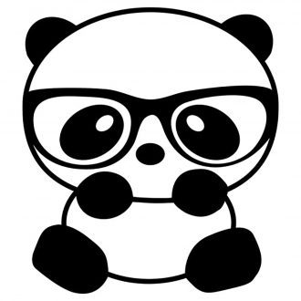 nerdy panda with glasses