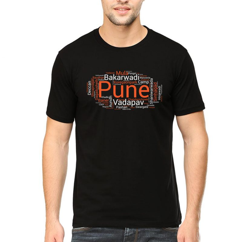 pune places foods attractions men round neck t shirt black front
