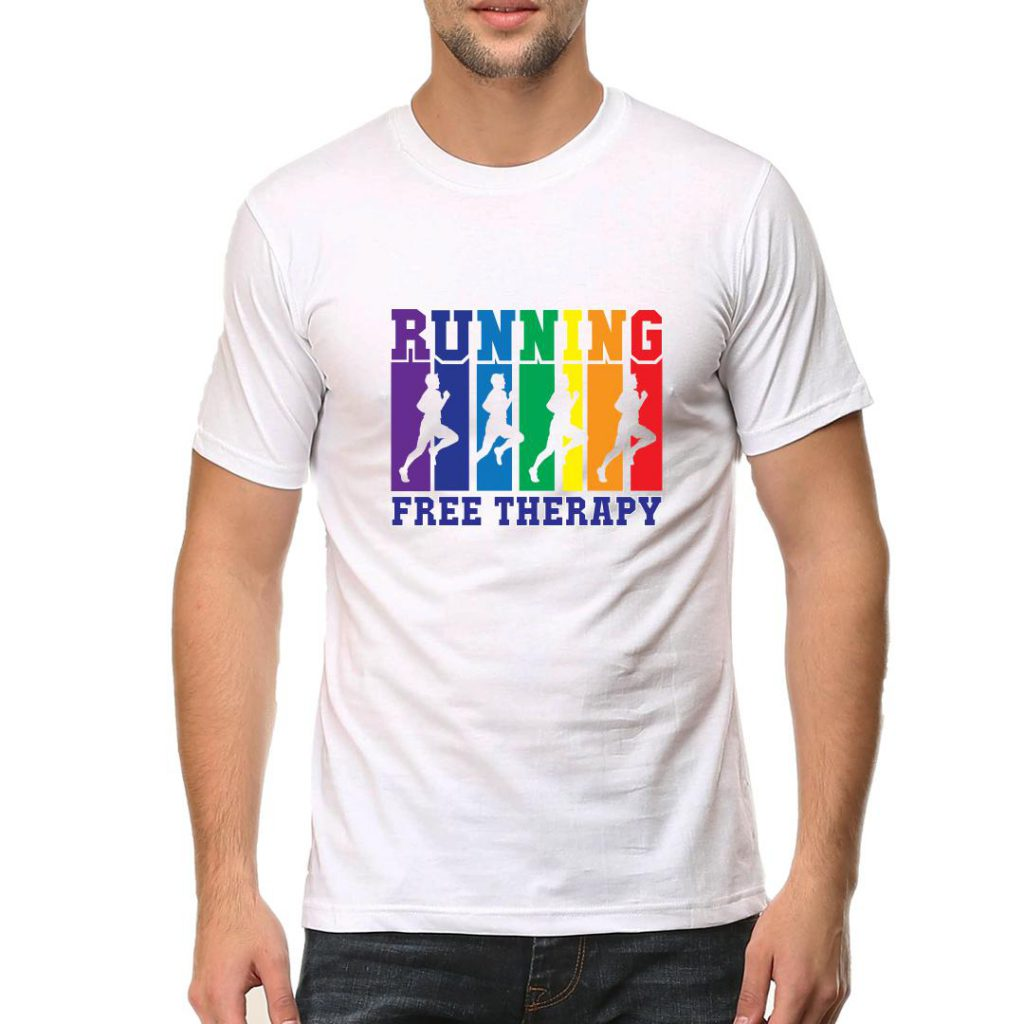 running free therapy men round neck t shirt white front