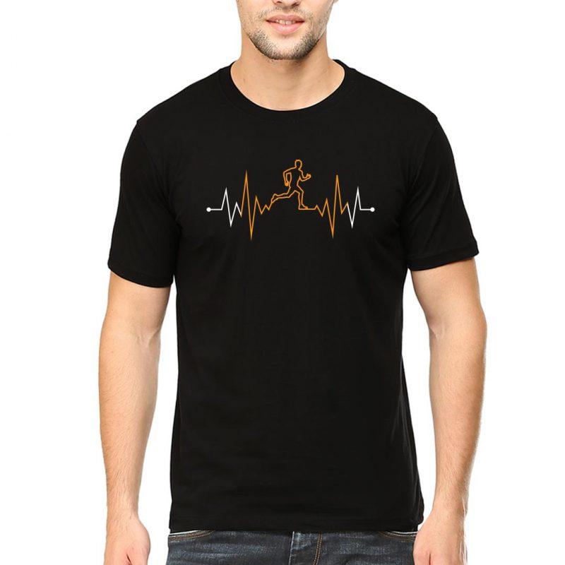 running heartbeat men round neck t shirt black front