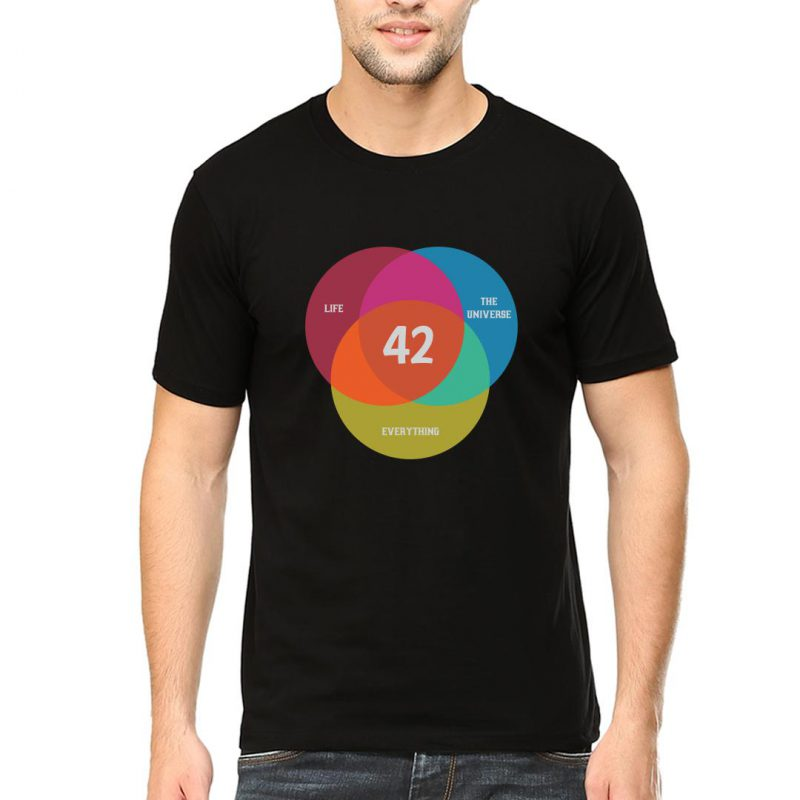 the answer to life the universe everything 42 men round neck t shirt black front