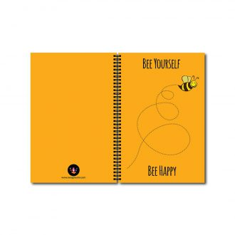 swag swami bee yourself bee happy quirky notebook front and backj